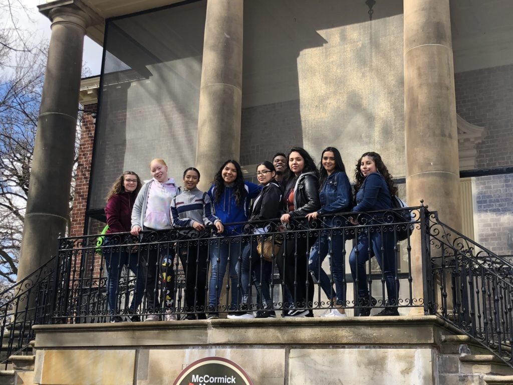 Cantigney Park Field Trip students on stairway