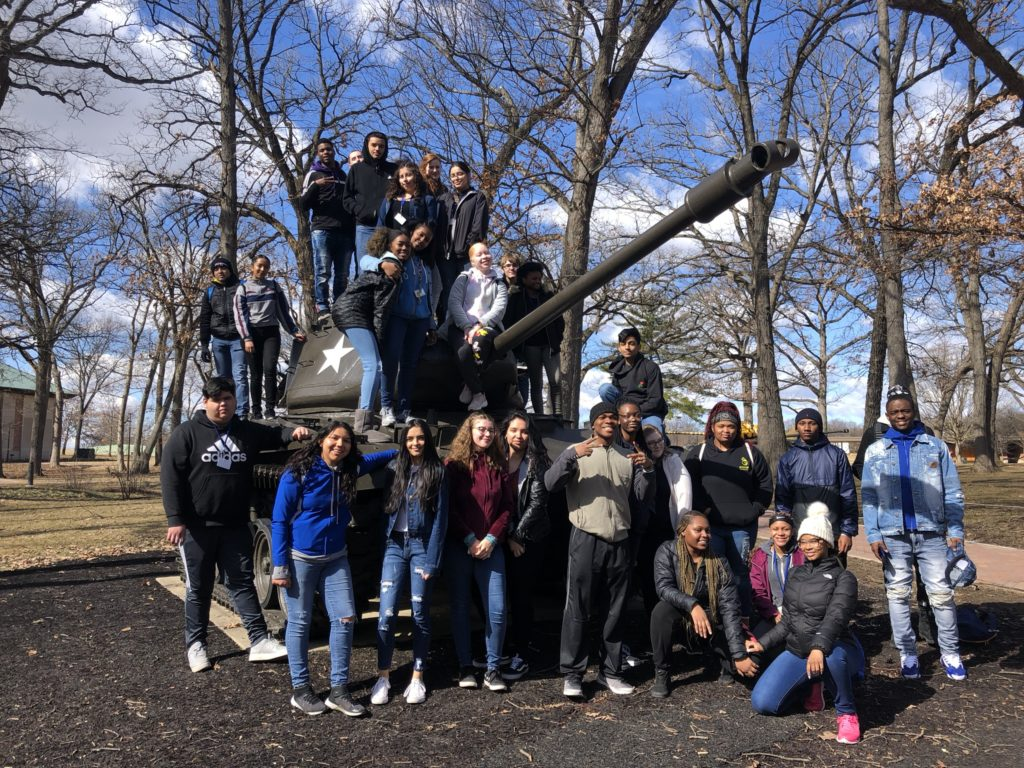 Cantigney Park Field Trip students with tank