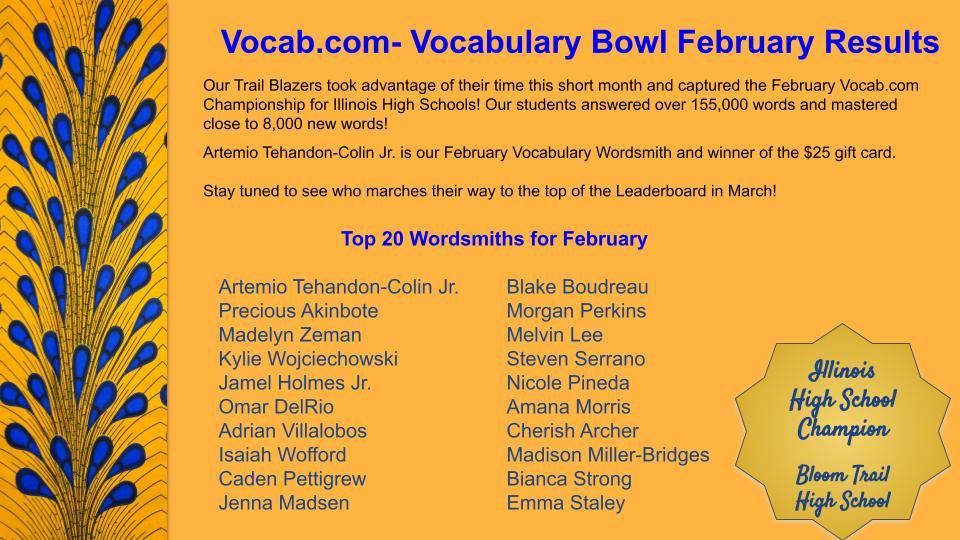 Vocab.com  Vocabulary Bowl February Results